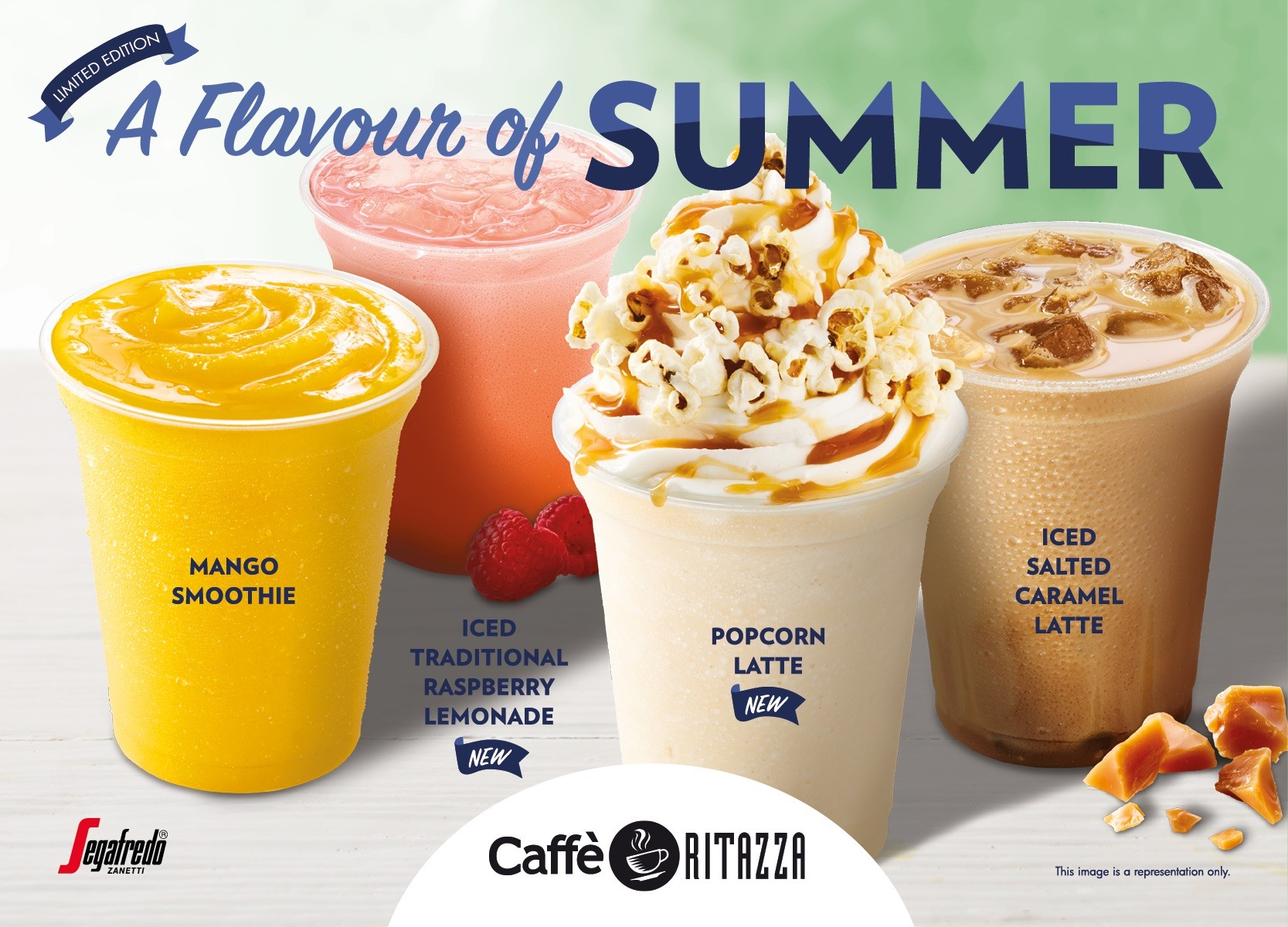 A flavour of summer. Smoothies with flavours: mango, raspberry lemonade, popcorn latte and salted caramel latte.